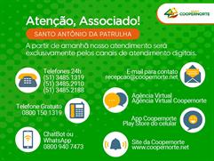 👉 Atendimento ao associado de Santo Antônio da Patrulha será exclusivamente online e por ligação